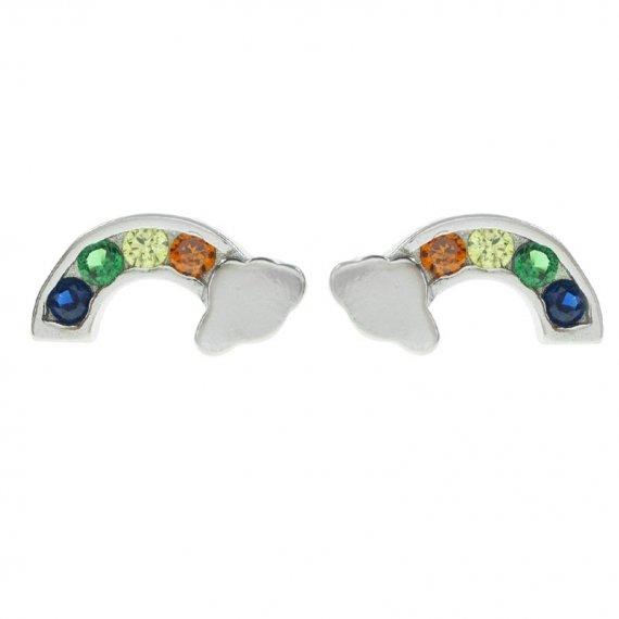 Pendientes arco iris Plata de Ley